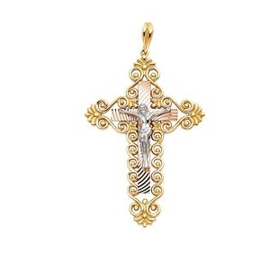 14K Tri Color Religious Crucifix Pendant